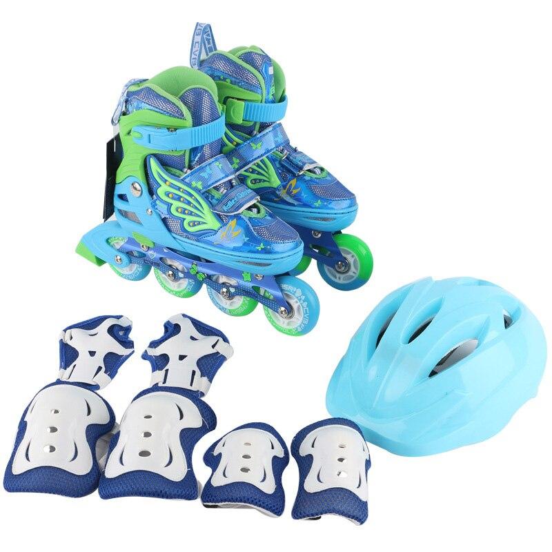 One Set Children Kids Inline Skate Roller Skating Shoes Helmet Knee Protector Gear Adjustable PU Flashing