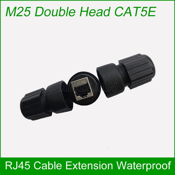M25 CAT5E CAT6E Ethernet cable connector Metal shielded RJ45 Interface Outdoor Bridge waterproof Joint Field assembly