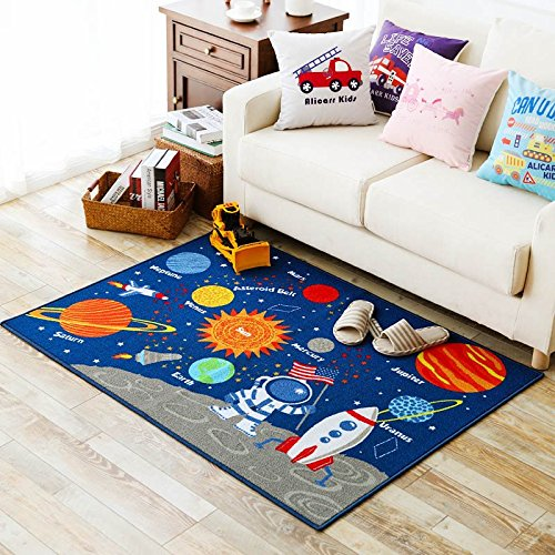 Blue Kids Fun Area Rug Nursery Rugs Solar System Children Carpet