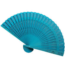 Wedding Hand Fragrant Party Carved Bamboo Folding Fan Chinese Style Wooden Hand Fan Ladies Fans Decor Abanicos Para Boda(China)