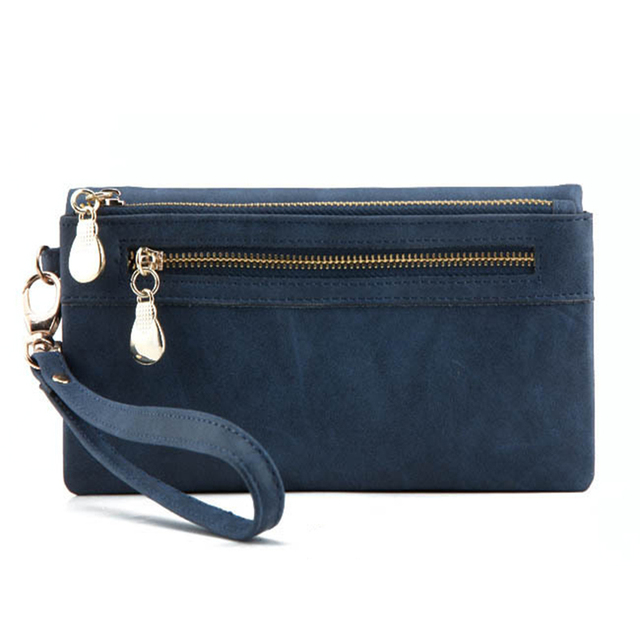 Dull Polish  Double Zipper Leather Wallet Clutch