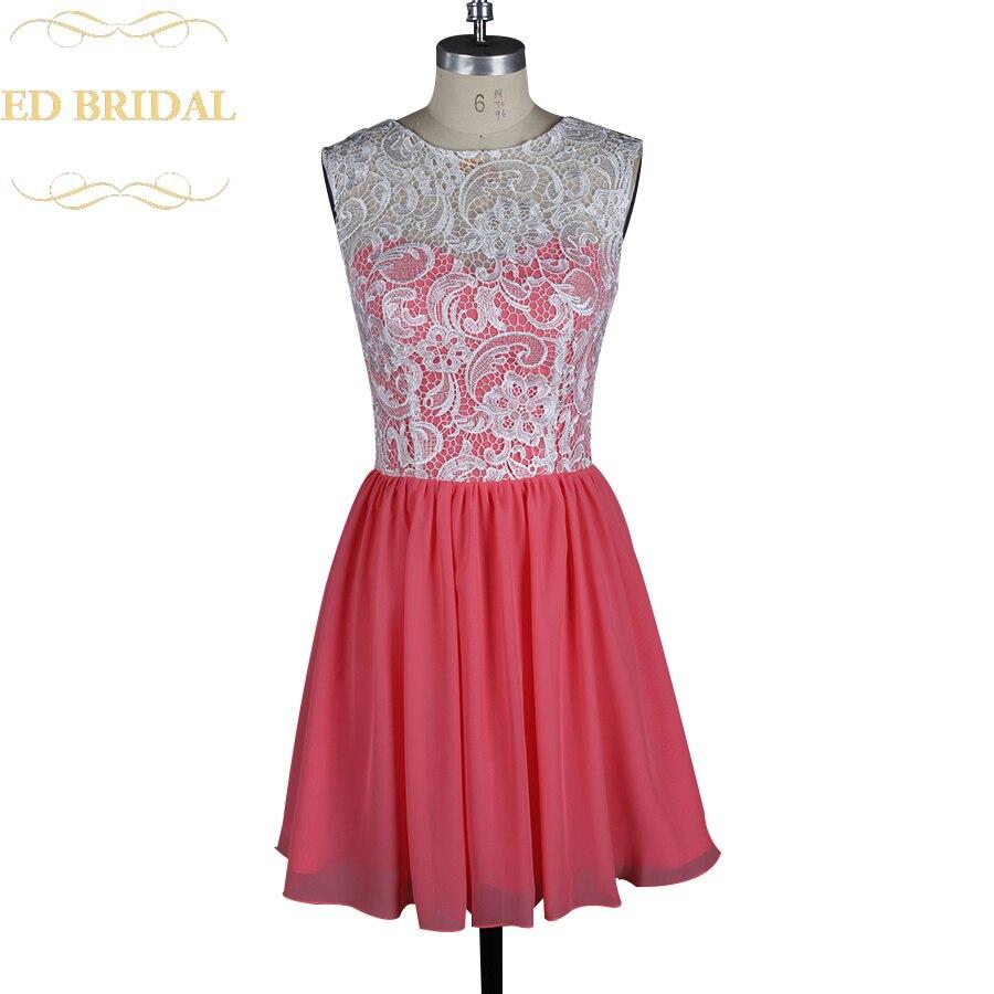 Dos tonos marfil Venecia Encaje coral gasa corto vestido de dama de ...