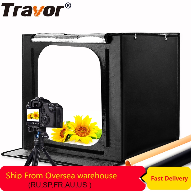 Travor Складная фотостудия лайтбокс софтбокс 60 см 46 Вт 3400LM с белым желтым черным фоном освещение студийный съёмный тент