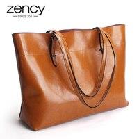 2016 New Women Handbag Genuine Leather Shoulder Bag Tote Ladies Black Brown Blue Casual Shopping Bag