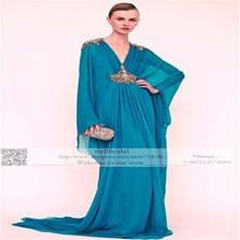2016 Long Sleeve Muslim Robe de Mariage Hijab Dubai Saudi Arabia V-Neck Underscarf Dubai BeadsEvent Gown Women Prom dress