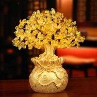 W Europejskim stylu żółty kryształ Szczęście drzewa Dekoracji wykonane fortunę drzewa dojną krową dekoracje domu otwarcia prezenty