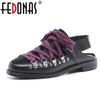 FEDONAS 2018 New Women Flats Genuine Leather Horsehair Shoes Fashion Round Toe Ladies Spring Autumn Flats
