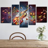 5 Planes Violin Picture Large Huge Size Wall Art Canvas Painting Guitar Music Home Decor Posters