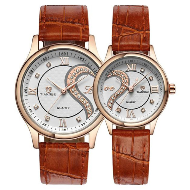 1 par/2 pc relógio tiannbu unisex casal amor romântico presente marca de luxo ultrafinos capa de couro à prova d' água relógio de pulso homem mulher i0