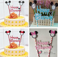 Free shipping 1 Set Birthday Cake Paper Craft Flag Banner Write Greetings Mic Min Cartoon kids party decoration Kitchen Toy Gift