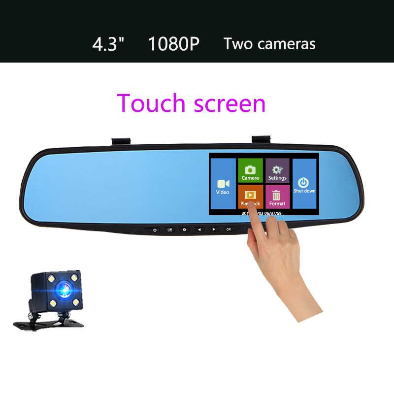 Jiluxing Dash Cam 4.3 ''1080 P Xe DVR gương Ống Kính Kép Ghi Video Xe Monitor xe Máy Ảnh Phía Sau xem gương Tự Động Đăng Ký