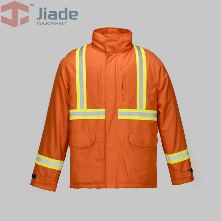 Jiade 100% FR cotton Work Winter Jacket  Flame Resistant welding clothing Long Sleeve Jacket Men's Work Winter Papka fire fox 100% fr cotton blue jeans work trousers sweat absorbing breathable flame resistant welding clothing