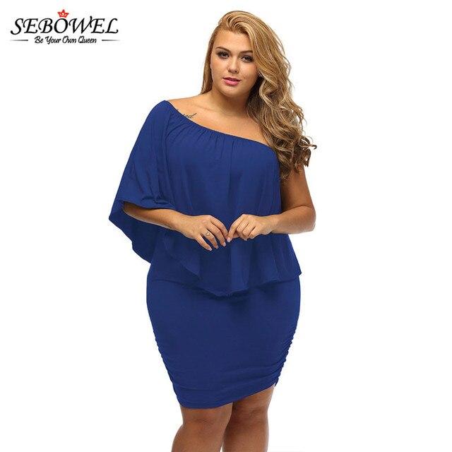 Sebowel Plus Size Summer Ruffle Dress Large Women Party Dresses