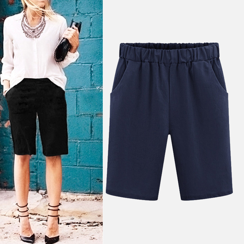 Plus Size 6XL High Waist Solid Women's Capris Pants Cotton Knee-length Harem Trousers 2020 Summer Beach Casual Clothes Female