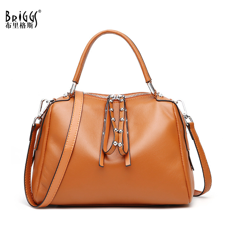 BRIGGS Brand Women Handbag Genuine Leather Tote Bag Female Business Shoulder Bags Ladies Handbags Messenger Bag 3 sets 2017 women handbags leather handbag women messenger bags ladies brand designs bag bags handbag messenger bag purse 3 sets
