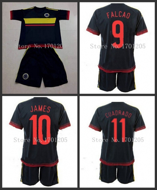 21978718971 2015 2016 COLOMBIA Kids Away Soccer Jersey #9 FALCAO #10 James RODRIGUEZ  2016 COLOMBIA Football shirt short