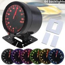 60MM 12V 8~18V 64 Backlights LED Electrical Car Volt Voltage Gauge Meter with Sensor