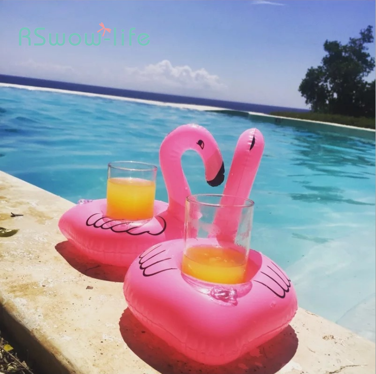 5pcs Inflatable Cup Holder Flamingo Product Water Toy Single Hole Coaster Home Convenience Tool