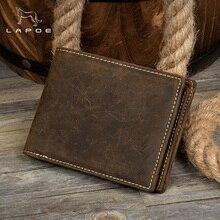 LAPOE Genuine Leather Wallet Men Purses Crazy Horse Wallets Vintage Top Quality Lether Wallet Carteira Masculina Cardholder
