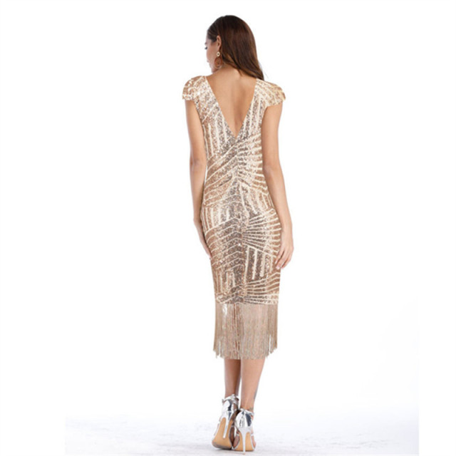 2019 Women Summer Party Night Dress Sexy & Club Backless Sequines Tassel Elegant Dress