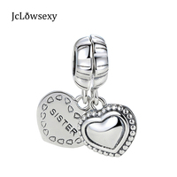 Para S925 Steling Srebrny Koralik Moje Szczególne Siostra Srebrny Wiszące Serca Charms Fit DIY Biżuteria Pandora Bransoletka & Bangle
