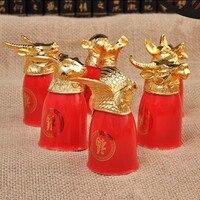 12 pcs Zodiaque porcelaine vin tasse 1 théière hôte étranger cadeau d'affaires cadeau creative animal verre à vin avec boîte-cadeau cadeau de mariage