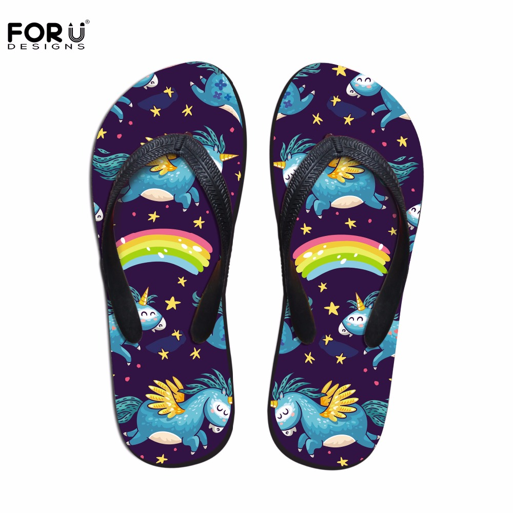 FORUDESIGNS Fashion Unicorn Design Summer Slippers Woman Casual Women Slip-on House Flip Flops Flats Beach Water Shoes Ladies new arrival solid women summer slippers flip flops genuine leather flat slippers ladies slip on flats clogs shoes woman
