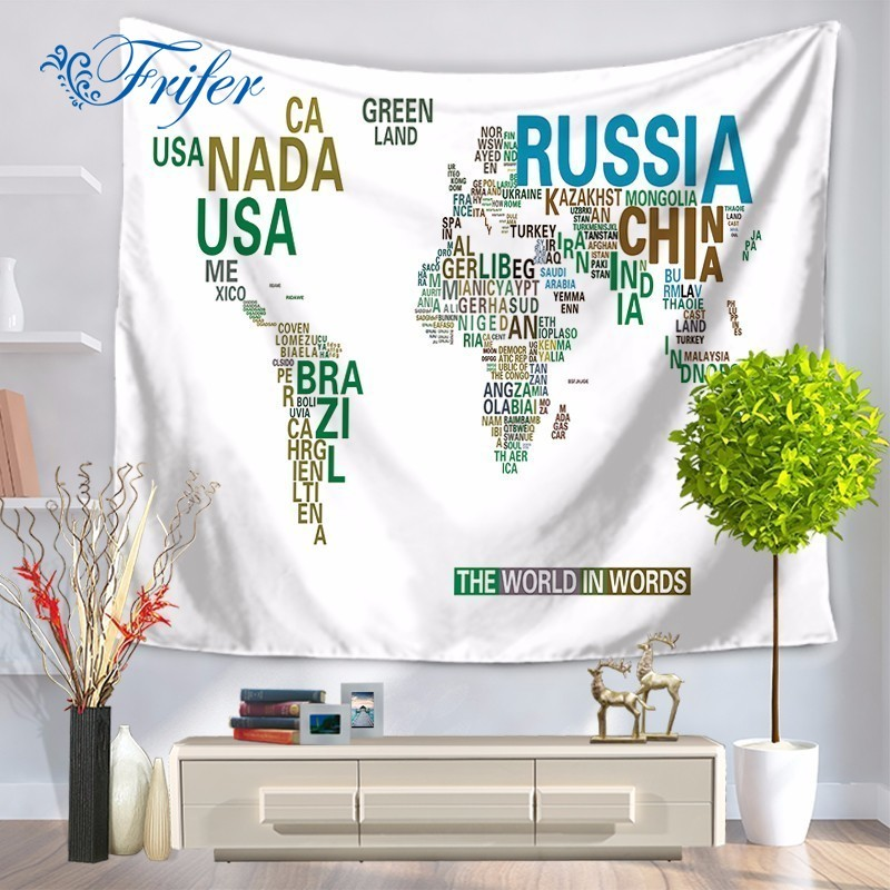 New World Map Pattern Tapestry Sitting Carpet Beach Towel Mandala Blanket Drap Mural Wall Hanging Tapete For Home Decoration