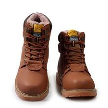 Outdoor Warm Tactical Boots Men's Footwear Wear-resistant Velvet Men Shoes Men Genuine Leather Male Snow Boot Male Social Shoes