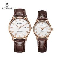 Lovers Couple Watch Women Men Rose Gold Silver Sapphire Quartz Wristwatch Ladies Clock Montre Femme Relogio Feminino Ronmar