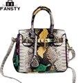 2016 Nuevas Mujeres de La Serpiente de Cuero Crossbody Bag Lock Bolsos de Moda Femenina Bolsa de Mensajero Del Hombro para Las Señoras Totes Casual