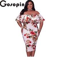 Gosopin 2017 New Sexy Bodycon Pink Ruffle Off Shoulder Mermaid Midi Party Dress Plus Size XXL