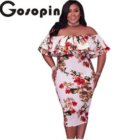 Gosopin 2017 New Sexy Bodycon Pink Ruffle Off Shoulder Mermaid Midi Party Dress Plus Size XXL