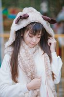 Winter Scarf Women Cartoon Christmas Reindeer Pattern Neckerchief with Hat and Gloves Lolita Hooded Scarves