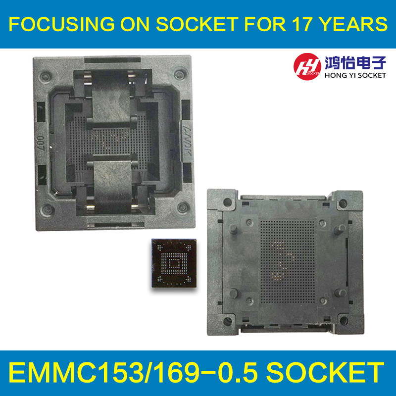 eMMC153/169 Reader Burn in Socket IC Body Size12x18mm Pin Pitch 0.5mm BGA153 BGA169 Test Socket Adapter Data Recovery qfp176 tqfp176 lqfp176 burn in socket pitch 0 5mm ic body size 24x24mm otq 176 0 5 06 test socket adapter