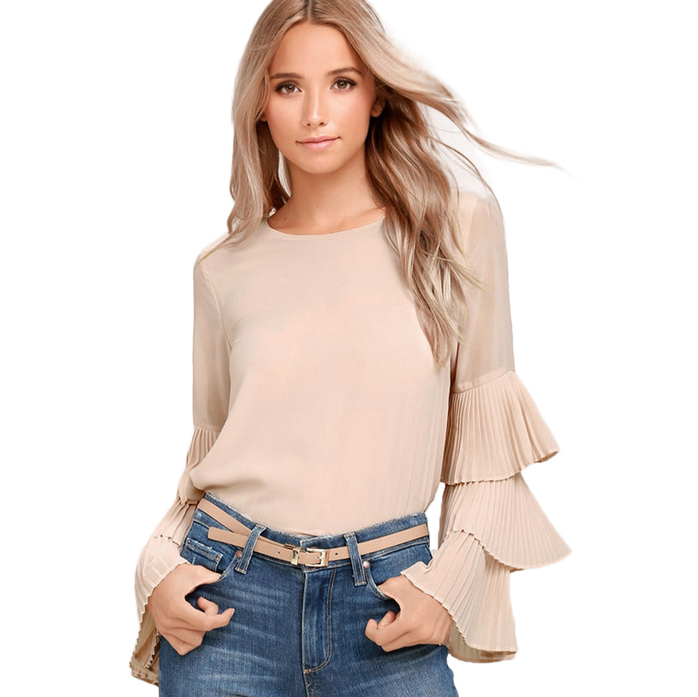 Womens Solid Chiffon Flare Sleeve Blouse Long Sleeve Shirt Ladies Casual Red Khaki Blue Tops Blouse Blusas Y Camisas Mujer 10