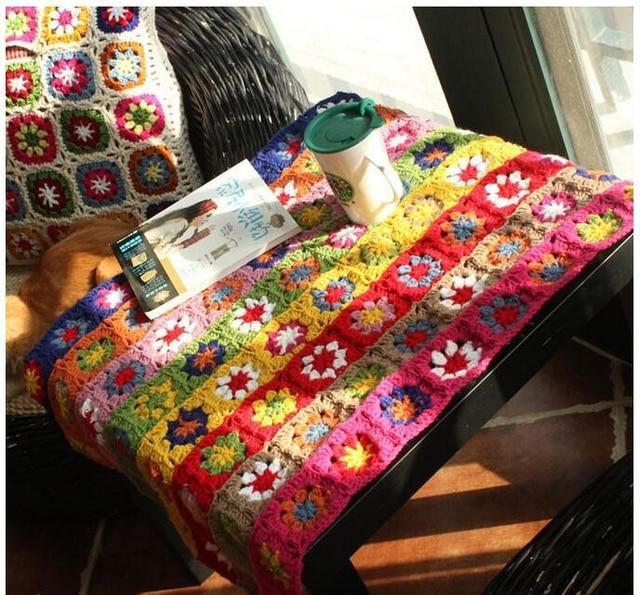 Navidad mano de ganchillo rayas Margarita flores Manteles lana manta ...