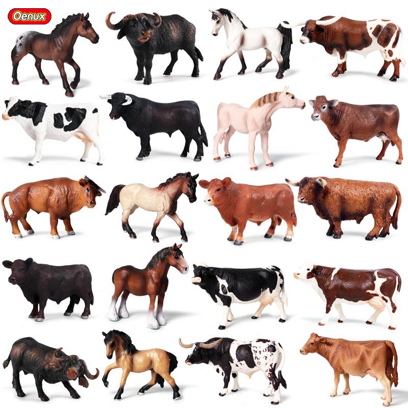 Oenux classique ferme animaux figurines Action volaille gros bovins taureau boeuf lait vache cheval Figurine Pvc mignon modèle éducatif enfants jouet