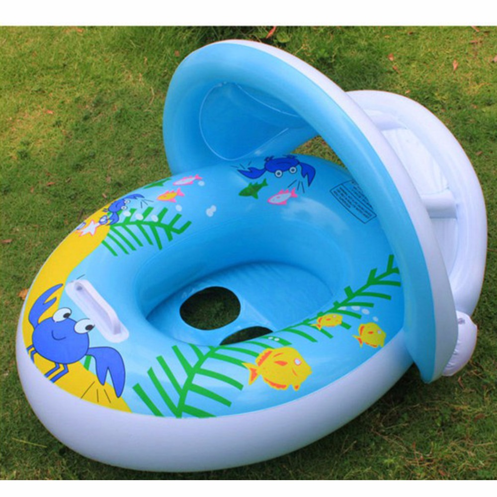 1pcs 12 36 Months Safety Swim Pool Seat Adjustable Sun Shade Baby Infant Swimming Float Boat