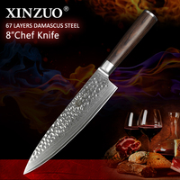 XINZUO 8 inch Chef Knife Handmade Damascus Steel Kitchen Chef Accessories Advanced Gyotou Knife Gift Knives Pakka Wood Handle