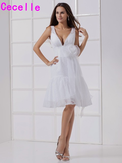 Sexy V ausschnitt Kurze Spitze Brautkleider Anrede Sleeveless ...