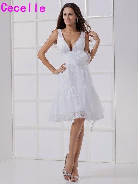 US  114.68 30% OFF סקסי צווארון V שמלות כלה תחרה קצרה שרוולים פורמליים קבלה  כלות הלבנות קטן ...