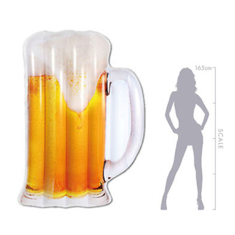 180cm Giant Inflatable Beer Mug Pool Float 2018 Newest Bottle Lounger Floatie Raft for Adult Swimming Ring Oktoberfest Party Toy