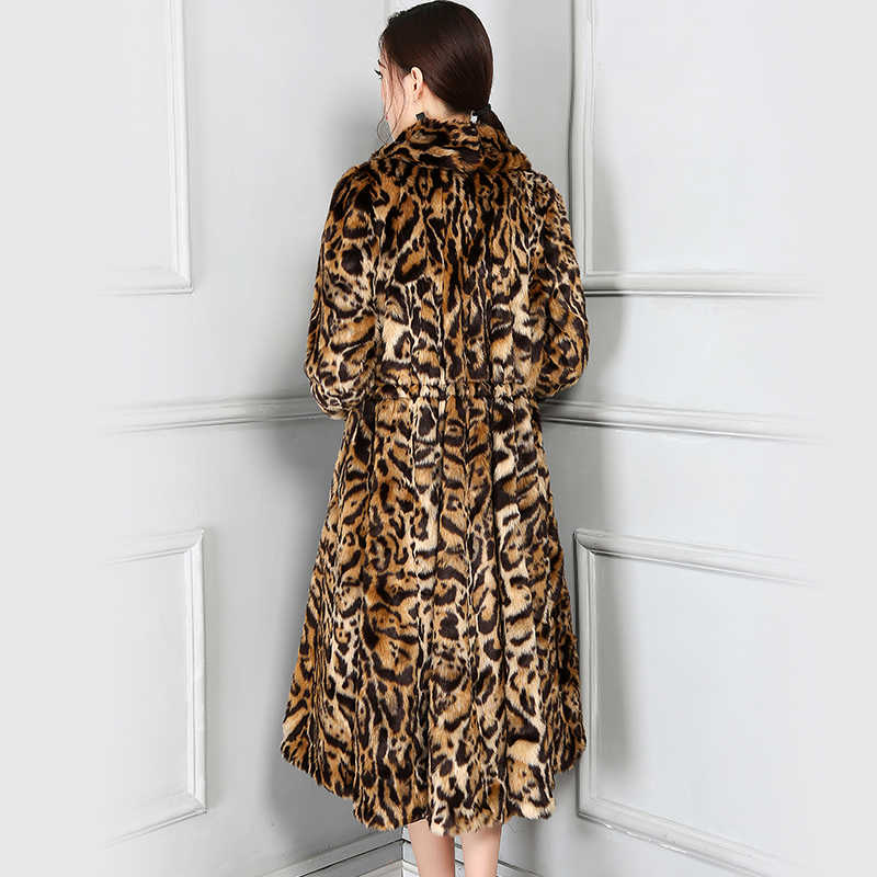 Nerazzurri Winter Faux Pelz Leopard Mantel Plissee Welle Rock 2019 Neue Mode Frauen Langarm Withstring Mantel Plus Größe 5XL
