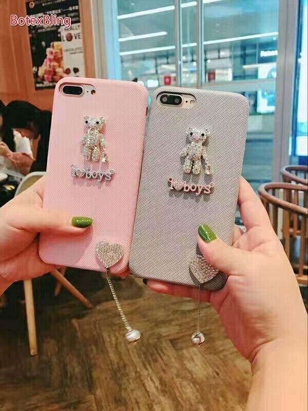BotexBling 3D DIY cute cartoon love bear rhinestone phone case for iphone X case 8 8plus 6 6s plus 7 7plus back cover Flowers