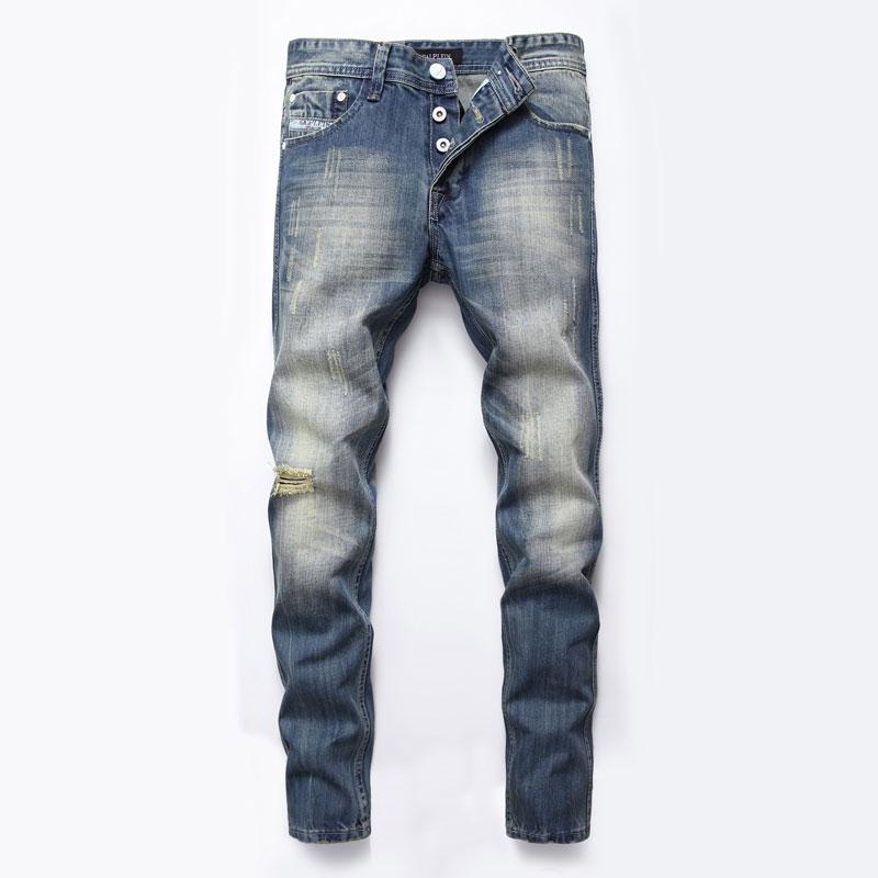 Italian Style Fashion Mens Jeans Buttons Pants DSEL Brand Slim Fit Hole Ripped Jeans For Men Blue Color Denim Biker Jeans Homme