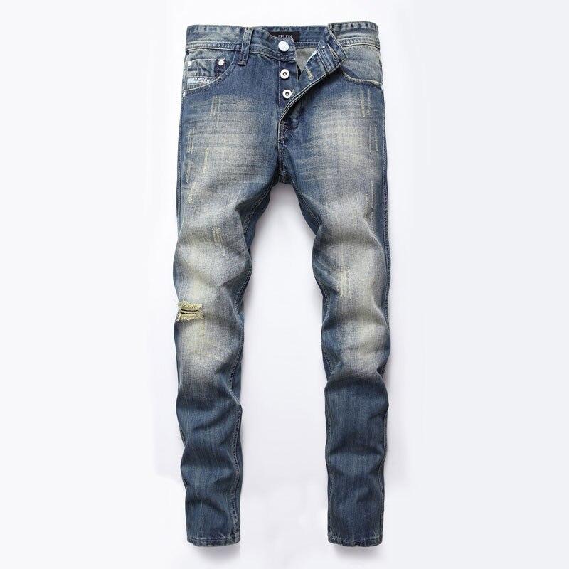 618e1ed773acd € 22.92 48% de réduction|Style italien mode hommes Jeans boutons pantalons  marque DSEL Slim Fit trou déchiré Jeans pour hommes bleu couleur Denim ...