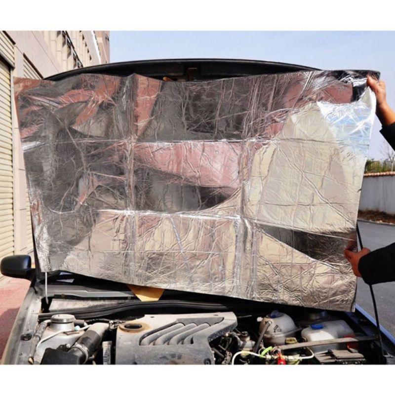 New 140cm X 100cm Car Hood Motor Firebreak Heat Mat Deadener Sound Insulation Material Deadening Aluminum Foil Sticker