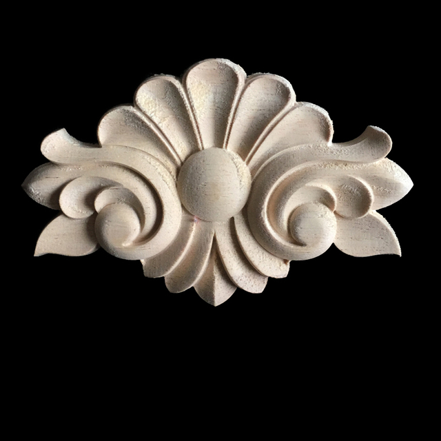 Antique Decorative Wood Appliques Europe Furniture Decor Cabinet Door  Irregular Wooden Mouldings Flower Carving Figurine Craft - Antique Decorative Wood Appliques Europe Furniture Decor Cabinet