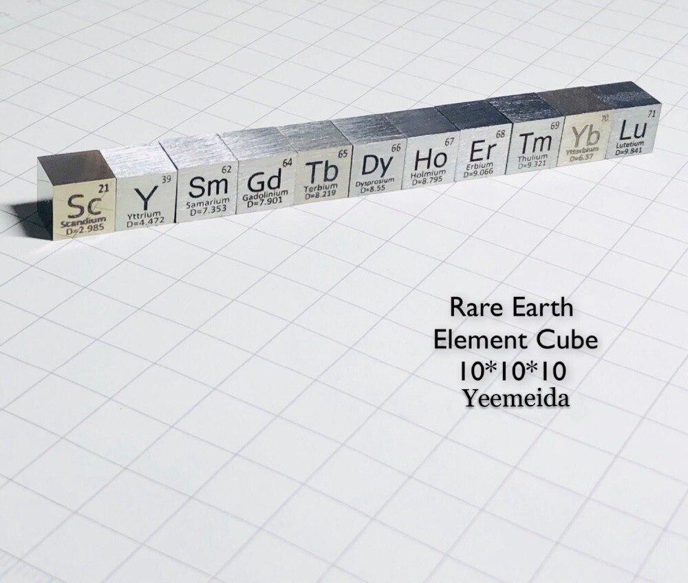 Cube en métal Rare 10mm densité pour la Collection d'éléments simples Y Gd Sm Sc Er Yb Tm Sc Lu Er Dy fait main bricolage loisirs affichage